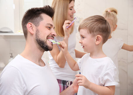 Brushing Teeth Father and Son