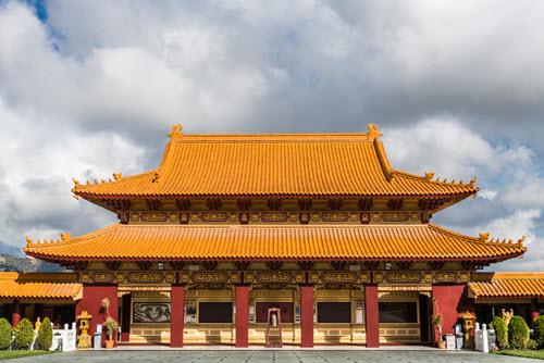 Hall of Bodhisattvas at Hsi Lai Buddhist Temple, California